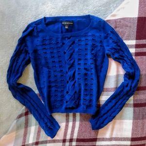 Rock & Republic Blue Open Knit Crop Sweater